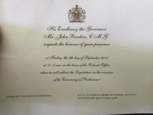 Invitation to the Opening of Parliment, 2017